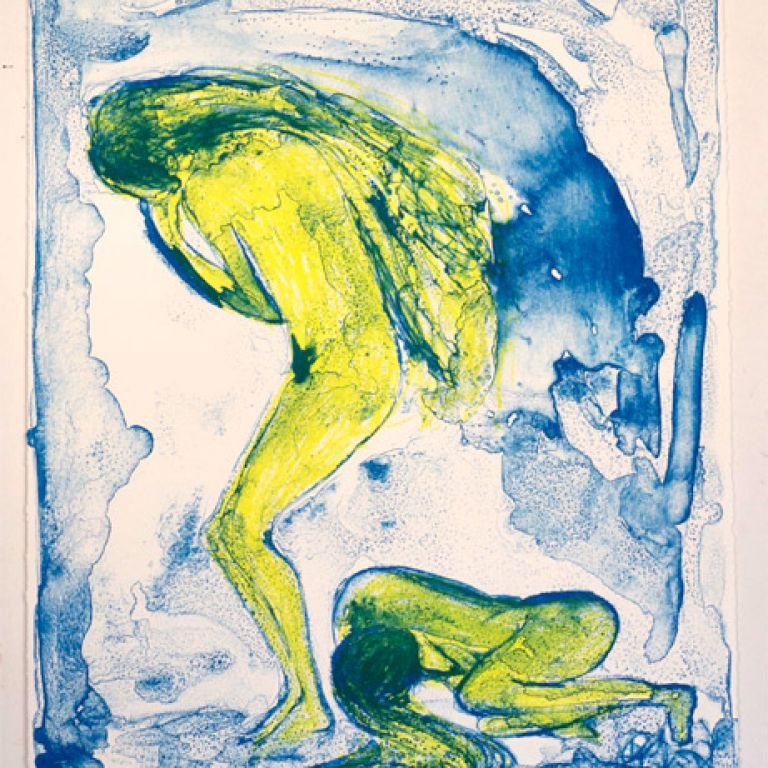 Windsbräute 2013, Tusche - und Kreidelithographie | Whirlwinds, ink and crayon lithography | Druck / print 67 x 51 cm